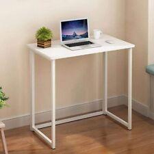 More details for small foldable desk corner computer desk folding pc laptop table wooden white uk