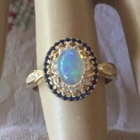Art Deco Vintage Jewellery Gold Ring Opal Blue White Sapphires Antique Jewelry
