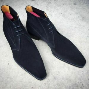 New Handmade Men's Navy Blue Chukka, Men Blue Suede Leather Lace up Boots
