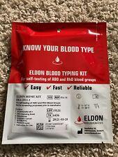 1 Blood Type Rh Factor Eldoncard NEW Test Complete Kit w/ Full Instructions