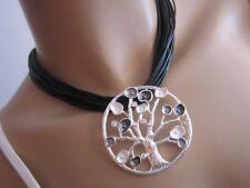 Damen Hals Kette kurz Modekette Modeschmuck Band Schwarz Silber Anhänger Baum