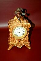 "Antique RARE 12"" Ansonia Mantel Clock w/ Cherub Finial Top - As-Is Not Working"