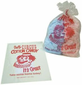 """100 Cotton Candy Bags-Circus Clown-Gold Medal- New 12""""x18"""" Cotton Candy Supplies"""