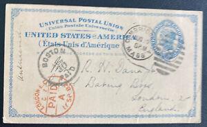 1882 Cambridge MA USA Postal Stationery Postcard Cover To London England