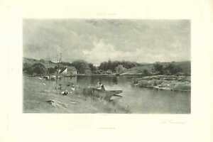 Rowboat, Landscape, In Connecticut by George H. Smillie, 1890 Antique Art Print
