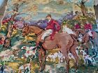 Antique Wool Needlepoint Petit Point Tapestry Hunt Scene Dogs Ducks Cattails