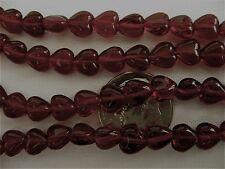 50 Garnet Red Czech Glass Heart Beads 6mm