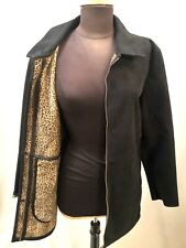 Ladies Dash Black Leopard Suedette Moss Skin Coat UK 12 EUR40