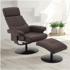 Gately Top Grain Leather Swivel Recliner and Ottoman - Dark Brown, NO TAX