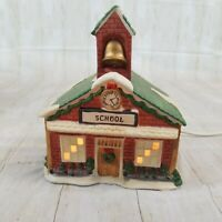 Vintage Noma Dickensville Collectables School House Porcelain Lighted 27214