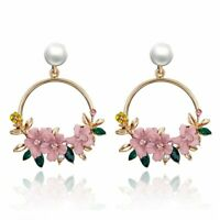 Fashion Crystal Flower Earrings Women Gold Circle Drop Dangle Pearl Ear Stud NEW