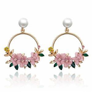 Fashion Crystal Flower Earrings Women Gold Circle Drop Dangle Pearl Ear Stud NEW