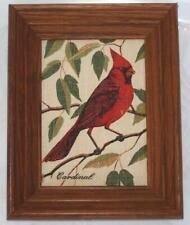 Vintage Kay Dee Framed CARDINAL 100% Pure Linen 9.5 x 7.5 inches MCM
