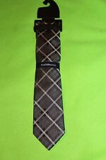NWT mens CROFT & BARROW grey NECKTIE white SILK blend PLAID dressy BLACK