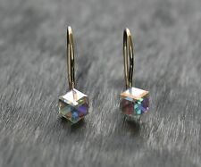 9ct Yellow Gold Ladies/Kids Delicate 7mm Crystal Cube Drop Safety Hook Earrings