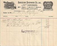 1907 Anderson S.C. Hardware Co. Illustrated Billhead