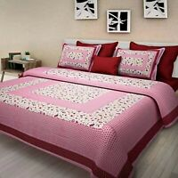 Pink Color Floral Print Cotton Double Bed Sheet & Duvet Cover 4 Pillow Covers rw