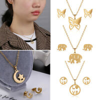 3pcs Gift Women Fashion Gold Color Earrings Jewelry Set Necklace Stainless Steel
