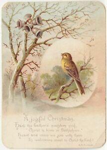 A JOYFUL CHRISTMAS - H M Burnside Poem - Bird / Bells In Tree - c1900s era card