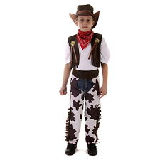 Kids Fancy Dress Cowboy Costume Wild West Boys Full Set Hat Ages 4-6