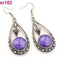 purple crystal rhinestone Tibet Silver Crystal Teardrop Earrings dangle er182