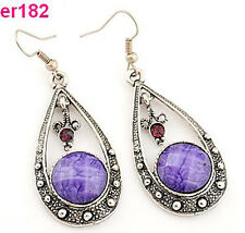 1 pair purple crystal rhinestone Tibet Silver Crystal Teardrop Earrings dangle