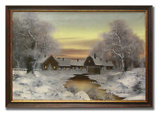 FARM ON AN EARLY WINTER´S MORNING - Excellent Oil Painting from around 1920