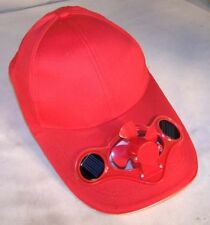 RED SOLAR POWERED FAN BASEBALL CAP air cooled ball caps headwear men women