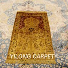 Yilong 2.5'x4' Golden Hand-knotted Area Carpet Antique Silk Handmade Rugs 423AB