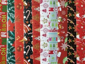 10 SHEETS OF GOOD QUAILTY ASSORTED TRADITIONAL GLOSSY CHRISTMAS WRAPPING PAPER