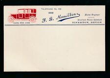 Devon TIVERTON c1910/20s? advert embossed postcard F G HAMILTON Garage taxis