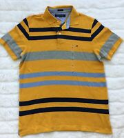 NWT Men's Tommy Hilfiger Short-Sleeve Yellow Blue Striped Polo Shirt Size M, L