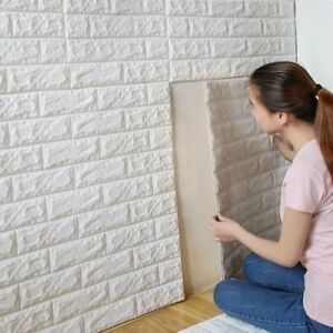 70*30cm Foam 3D Tile Brick Wall Sticker Self-Adhesive DIY Wallpaper Panels White