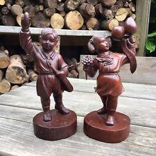 More details for rare old vintage hard wood figures of a girl guide & boy scout - nippon jamboree