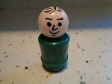 Vintage Fisher-Price Little People Dark Green Dad with Black Heat Stamped Hair