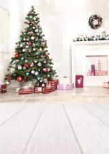 Christmas Trees Photo Backdrops Wooden Floor Photography Background Vinyl 5x7FT