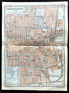 1910 ANTIQUE COLOR MAP - SGRAVENHAGE, THE HAGUE NETHERLANDS - 100% ORIGINAL Rare