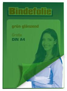 Bindefolie / Deckfolie / Deckblatt transparent Glänzend GRÜN  DIN A4 100 Stück