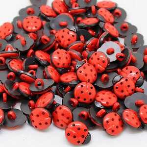 Pack of 50 -   Ladybug Ladybird - Craft Ladybug Buttons 15mm