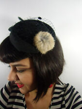 Mini chapeau bibi rétro vintage noir voilette pompon fausse fourrure pinup