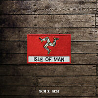 ISLE OF MAN Flag With Name Embroidered Iron On Sew On Patch Badge