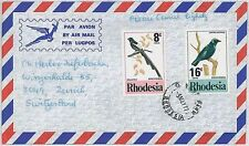 BIRDS -  POSTAL HISTORY -  RHODESIA : airmail cover to SWITZERLAND 1977