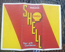 1935 Indiana   road  map Shell  oil gas  United States on back