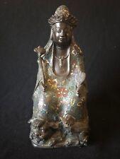 Tibet bronze cloisonné manjuist samantabhadra Kwan-yin Bodhisattva Guanin XIXe