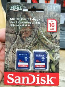 NEW! SANDISK SDHC CARD 2 PACK 2x 16GB BREAK UP COUNTRY SD CARD WILDLIFE CAMERA