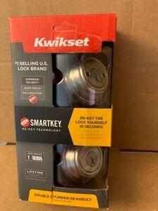 Kwikset 985 Series KW1 Satin Nickel s With SmartKey Double Cylinder Deadbolt