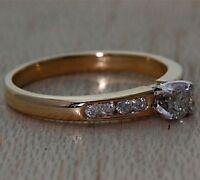 9Carat Yellow Gold 0.33ct Diamond Engagement Ring UK Hallmarked RRP £950 {JL13}