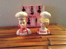 "Vintage Enesco Ceramic 4"" Barbie Ken Chefs Salt Pepper Shakers NIB"