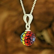 "Ball Multi Color Crystal Pendant 925 Sterling Silver 18"" Cable Chain Necklace"