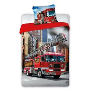Feu Moteur Set Housse de Couette Simple Euro Taille 100% Coton Pompier Literie